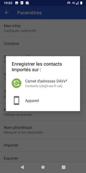 Enregistrer les contacts importés sur le compte DAVx