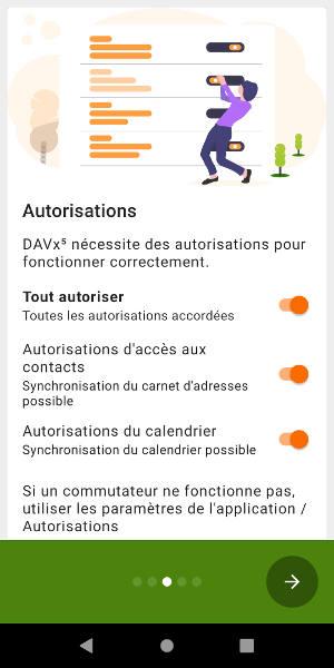 Autoriser DAVx à gérer contacts et agenda