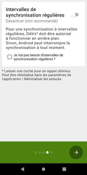 Option de synchronisation régulière DAVx