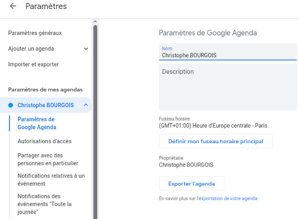Exporter l'agenda Google