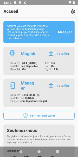 Magisk non installé et Magisk Manager installé