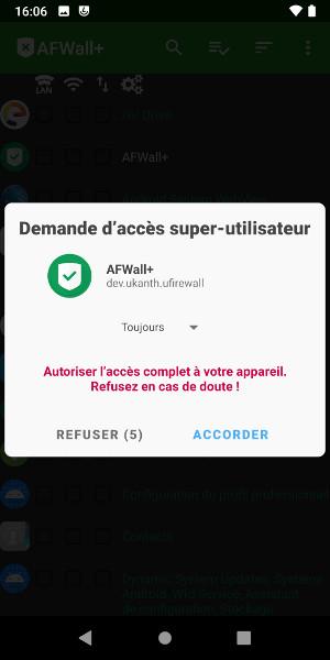 Accorder l'accès super utilisateur